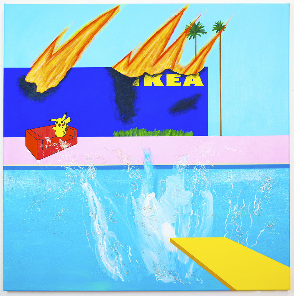 A Bigger Splash, 2021, acrylic chrome ink glitter and mica flakes on canvas, 100 x 100 cm