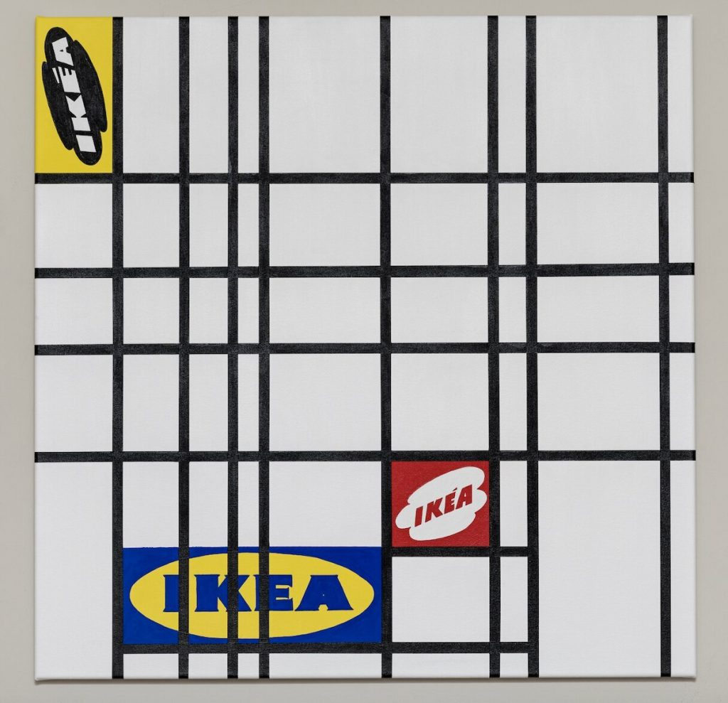 Composition with red, yellow and blue IKEA logos, 2021 Acrylic on canvas, 95 x 95 cm